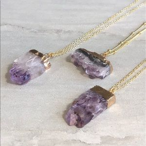 COMING SOON! Raw Amethyst Slice Necklace